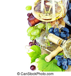Glasses of wine and grapes over white with copyspace