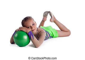 子供, ボール, 隔離された, 体操, 位置
