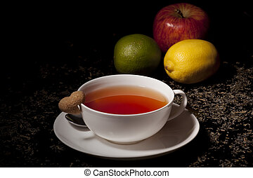 Tea in a white cup - Tea in a white cup on a dark background...