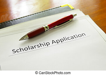 app form - student scholarship application form on a desk