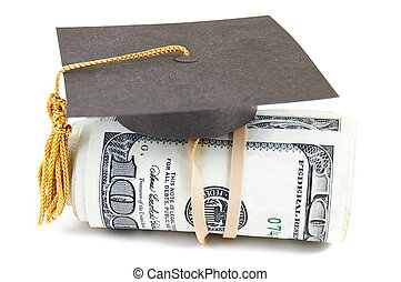 salary grad - mini graduation cap on rolled up cash