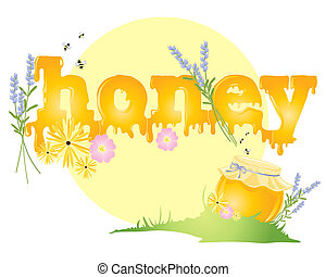 honey - an illustration of a big yellow sun with the word...