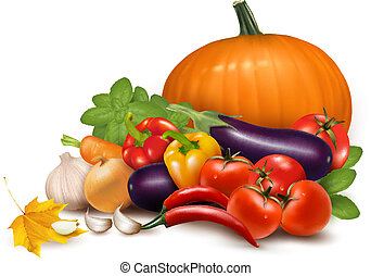 Fresh autumn vegetables with leaves Healthy Eating Vector...