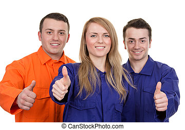Thumbs up industrial group - A group of three industrial...