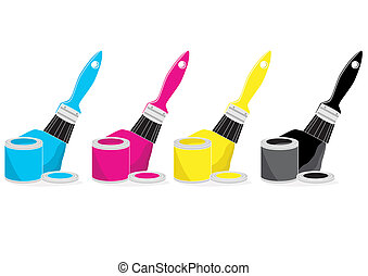 Paint brushes with CMYK colour