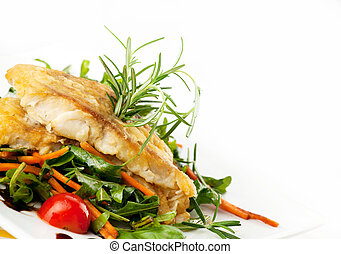 Fillet of white fish and vegetables - pan seared fillet of...