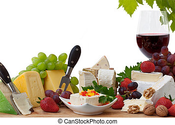 Cheese and Wine - Glass of red wine and assorted cheeses...