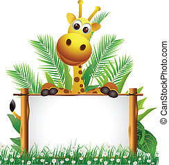 cute giraffe with board - vector illustration of cute...