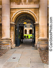 Architecture of Cambridge UK - Pillars of a college of...