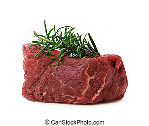 Raw filet steak isolated on withe