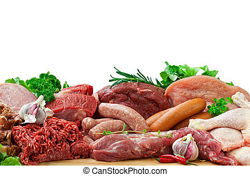 assorted raw meats - Fresh butcher cut meat assortment...