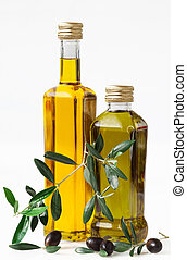 Olives and bottle with olive oil on white Background