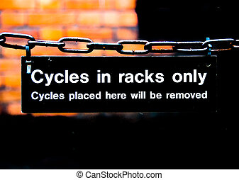 Warning sign cycles in racks only