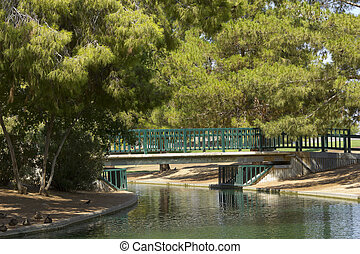 Walking Bridge at Cortez Lake, Phoenix, AZ - Pedestrian...