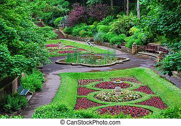 ornamento, italiano, estilo, jardín