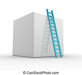 Ladder - A Cube and a ladder. Progress concept. 3d render A...