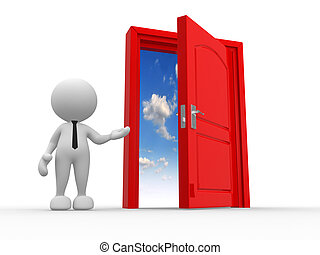 Open door - 3d people - man, person and a open door to...