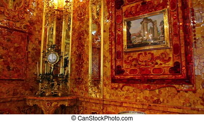 amber room in Pushkin St Petersburg Russia