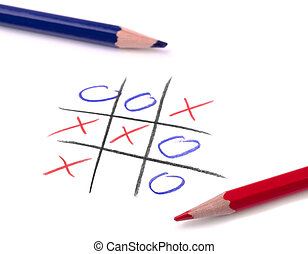 Tic tac toe game and two pencil on white page