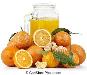 Orange Juice and Oranges - Fresh orange juice and...