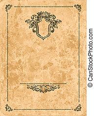 Vintage design elements on old paper sheet
