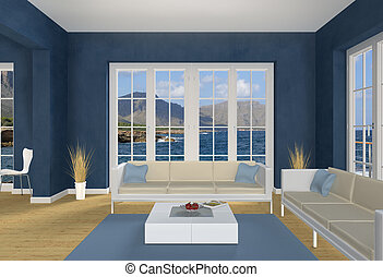 Blue seaside Living room - 3d living room with a view to the...