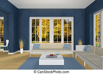 Blue Living room and autumn park - 3d living room with a...