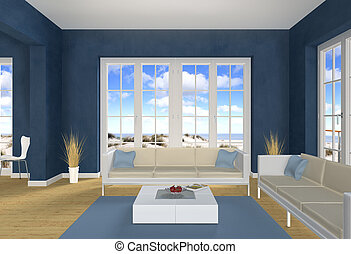 Blue Living room and beach - 3d living room with a view to...