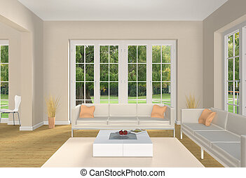 Pastell colored living room - Fictitious living room with...