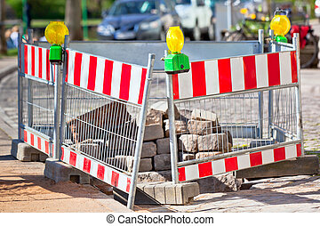 Road under construction - Construction barriers on a street...