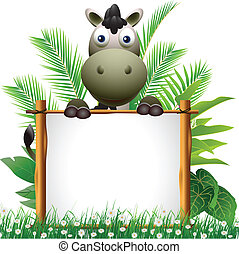 cute donkey cartoon with board - vector illustration of cute...