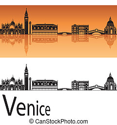 Venice skyline in orange background in editable vector file
