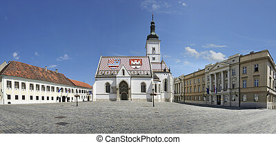 St Marks Church, Zagreb - St. Mark's Church, the Parliament...