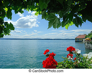 beautiful view over the Lake Constance in Meersburg, Germany
