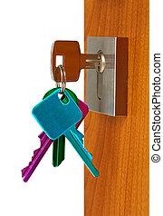 Open door - Door open with keys color in lock , isolated...