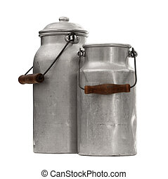 Two old nostalgic milk can - studio shot of an two old and...