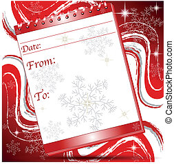 Christmas block note page with snoflakes