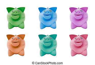coloured piggy banks