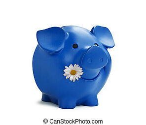 piggy bank - Happy piggy bank isolated on white with...