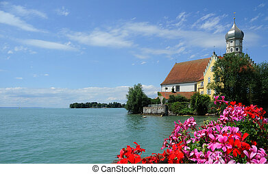 beautiful view over the Lake Constance in Wasserburg, Germany