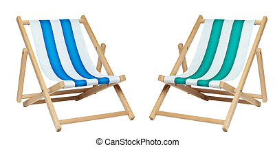 Two deckchair (with clipping path) - Two deck chair isolated...