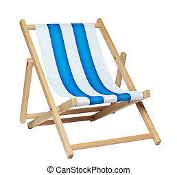deckchair (with clipping path) - Traditional deck chair...