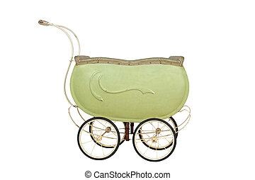 Toy doll Buggy - Vintage buggy isolated on a white...