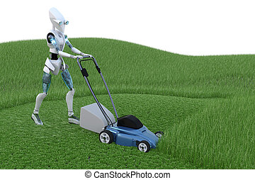 Robot with Lawnmower - Robot mowing grass with lawnmower.