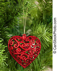 Christmas Tree - Red christmas heart on a christmas tree