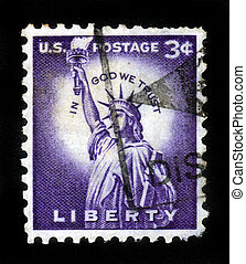 Statue of Liberty on US vintage postmark - USA - CIRCA 1954:...