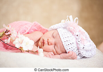 sleeping newborn baby (at the age of 14 days) - newborn baby...