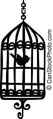 Bird Cage - Scalable vectorial image representing a bird...