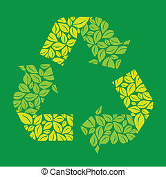 Illustration recycling, ecological simbol with leaves,...