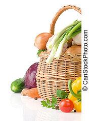 健康, 蔬菜, 食物, 籃子